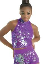 Dance Costume Large Adult Purple Sequin Jazz Balera Solo Competition Pageant