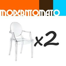 set x 2 modern acrylic ghost spirit arm dining chair  : crystal clear