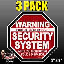 "3 Pack Warning 24 hour Security System Stickers  ""OCT"" RED Alarm Decal FS062"