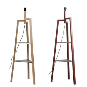 Wooden Tripod Base Floor Lamp with Metal Shelves Modern Living Room Light