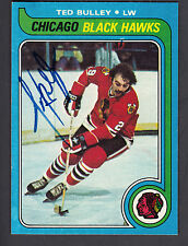 Ted Bulley Hand Signed 1979-80 Topps Hockey Card #128 NY Rangers In Person Auto