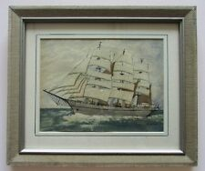 20th C British Maritime Seascape Watercolor Painting Signed Barbara Hannah 1920s