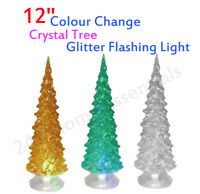 "12""CHRISTMAS CRYSTAL TREE COLOUR CHANGING LED LIGHT GLITTER TREE HOME DECOR Gift"