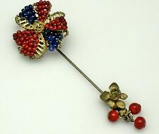 Signed MIRIAM HASKELL Vintage Patriotic Beaded Gilt Stick Pin Estate Find