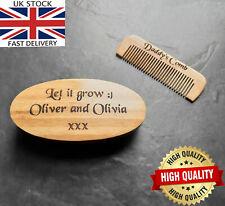 Engraved Men's Beard Brush & Comb Kit Boar Bristles Mustache Shaving Brush Gift