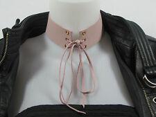 Collier Punk Gothique ras de cou choker femme cuir vrai rose fait main design