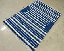 Handwoven 4'x6' Blue & White Reversible Cotton Rug Dhurrie Yoga Rug Flat Weave