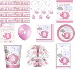 GIRLS PINK BABY SHOWER ELEPHANT PARTY ACCESSORIES TABLEWARE DECORATIONS MATCHING