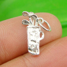 Golf Bag & Clubs Sport Small Charm Pendant Genuine 925 Sterling Silver, C250