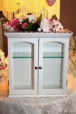 Shabby Cottage Chic Curio Cabinet Embellished Roses Pearls Etched Glass Display