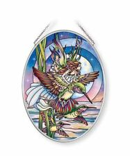"Hummingbird Fairy Sun Catcher AMIA 7""x5"" Hand Painted Glass Jody Bergsma New"