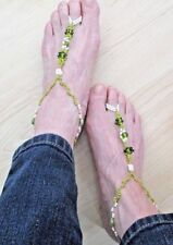 NEW Homemade PAIR Lime Green White Plastic Glass BEADS Stretch BAREFOOT SANDALS