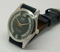 hmt pilot hand winding men steel black dial para shock vintage india watch run