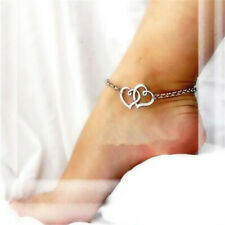 Fashion Women Ankle Bracelet Jewelry Double Heart Chain Beach Sexy Sandal Anklet
