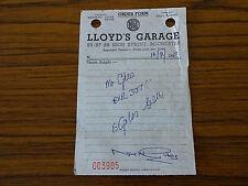 1967 Receipt: Lloyd's Garage High Street Rochester: Fuel Car Reg BKR 307C