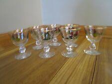 7 Vintage Mid Century Modern Painted Wine Cordial Cocktail Aperitif Glasses