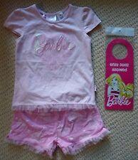 NWT Barbie Licensed Girls Hearts Roses Sequins Frills Summer Pyjamas Size 4