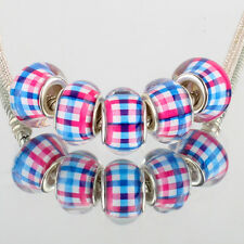 Red blue cross 5pcs SILVER MURANO bead LAMPWORK fit European Charm Bracelet DIY