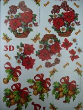 3D A4 Christmas Paper Tole Holly Poinsettias in Basket