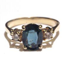 14k yellow gold .24ct SI2 Top Light Brown diamond womens sapphire ring 3g
