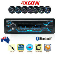4 x 60W Bluetooth Wireless Car Stereo Radio Audio MP3 Player 1 Din FM/SD/TF AUX