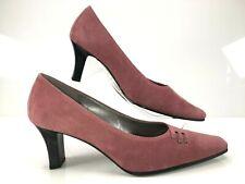 GABOR Dusky Pink Suede Dressy Court Shoes Mid Kitten Heel Snip Toe UK 6 EU 39