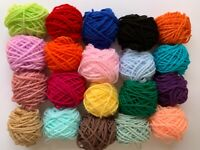 Mixed Yarn Wool Job Lot Knitting Crochet Squares Pompom Crafts Toys Bundle DK