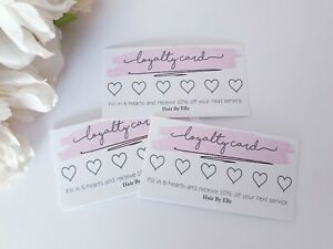 Business loyalty cards 40 or 100 pack personalised reward white or ivory card