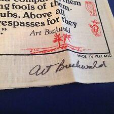 ART BUCHWALD - Signed Letter, Envelope and Irish Linen AUTOGRAPHED Tea Towel