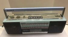Sony CFS-210 Soundrider Boombox AM FM Stereo Cassette with AC Cord Blue Vintage