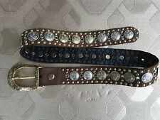 Women Rivet Genuine Leather Belt Brown SZ S