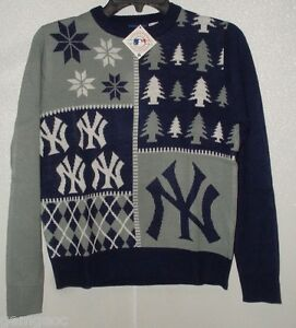 MLB New York Yankees Busy Block Ugly Sweater Youth Size Youth Small by FOCO