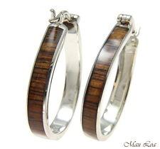 Koa Wood Hawaiian Rhodium Plated Brass 25x33mm Oval Hoop Snap Closure Earring