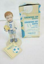1983 Enesco Growing Up Boys Birthday Boy Age 2 w Truck Porcelain Figurine Mib