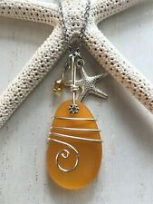 Sea Glass Necklace w Deep Amber Pendant Wire Wrapped & Starfish, Handcrafted
