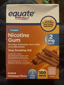Nicotine Gum Stop Smoking Aid Coated Cinnamon Flavor 2mg 100 Pieces Equate