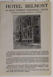 1914 Japan Japanisch Touristen Werbeanzeige Hotel Belmont Hauptstraße Yokohama
