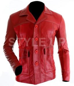 Men's Fight Club Tyler Durden Brad Pitt Casual Bomber Red Leather Blazer Jacket