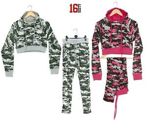 Womens Ladies Long Sleeve Camouflage Lounge Wear Set Casual Comfy 2PCS Tracksuit