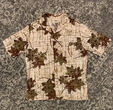 Vintage Jantzen HAWAIIAN style Leaves Fall Button Down Shirt 60's 70's sz L
