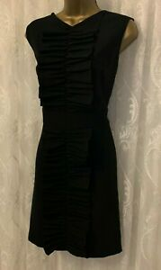 TED BAKER Black Swanste Ruffle Frill Tunic A Line Fit Flare Party Dress 5 16 44