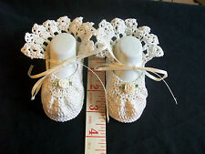 Baby Girls Booties Antique White Booties Heirloom Style Hand Crochet Size NB 2M