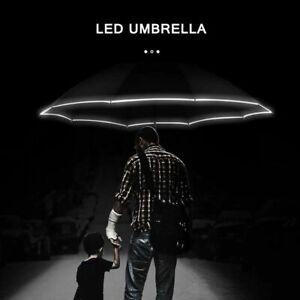Automatic Umbrella Reverse Led Luminous Windproof 3 Folding Strong Rain Parasol