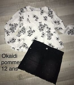 Okaidi 3 Pommes 12 ANS FILLE / Jupe Noire + Chemisier Fleuri Été TBE