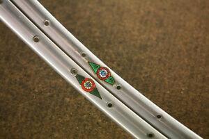 Vintage *MINT* set (2) French Pivo Record silver tubular rims rimset 700c / 36 h