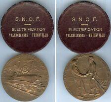 Médaille de table - SNCF 1955 électrification Valenciennes-Thionville BELMONDO