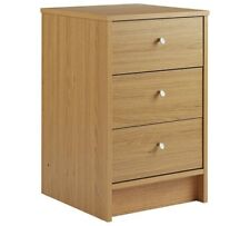 Oak Bedside Table Cabinet Chest 3 Drawers Wood