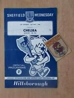 SHEFFIELD WEDNESDAY v CHELSEA 1966 & ORIGINAL WORLD CUP WILLIE SEW ON BADGE