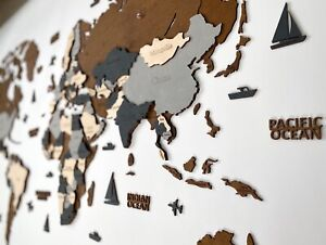 """Multilayered Wooden World Wall Map in Dark Brown and Grey M size 43"""" x 24"""""""