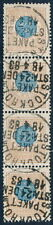 Sweden Scott 38/Facit 38e, 1Kr Ringtyp p.13, Vf Used Strip of 4, Rr!